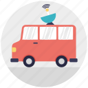 broadcast vehicle, broadcasting truck, media advertising, mobile vehicle, news van icon