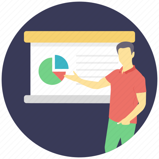 business analysis, business report, data analytics, pie chart, presentation, statistical report icon