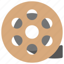 film reel, film stock, film strip, old film, spinning film reel icon