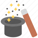 magic, magic hat and wand, magic show, magic tricks, magician costume icon