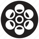 film reel, film stock, film strip, old film, spinning film reel icon