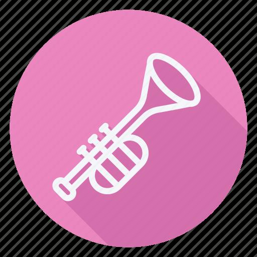 audio, media, multimedia, music, photography, trumpet, video icon
