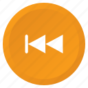 backward, control, multimedia, previous, arrow, audio, video