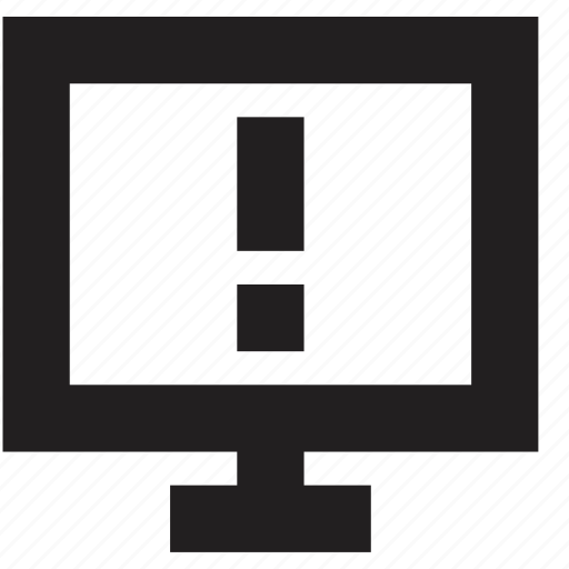 attention, computer, media, screen icon