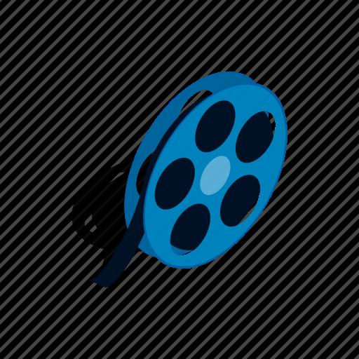 camera, cinema, entertainment, film, isometric, movie, reel icon