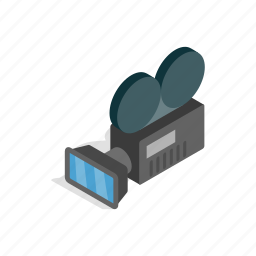 camera, film, isometric, movie, reel, retro, video icon