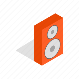 amplifier, audio, brown, isometric, music, sound, speaker icon
