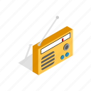audio, broadcast, isometric, music, radio, retro, sound icon