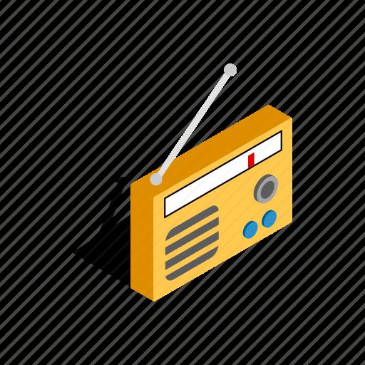 audio, broadcast, isometric, music, radio, retro, sound icon