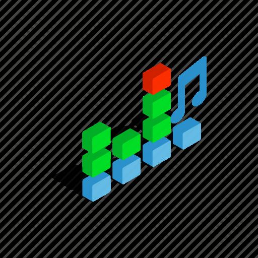 audio, equalizer, isometric, music, sound, volume, wave icon