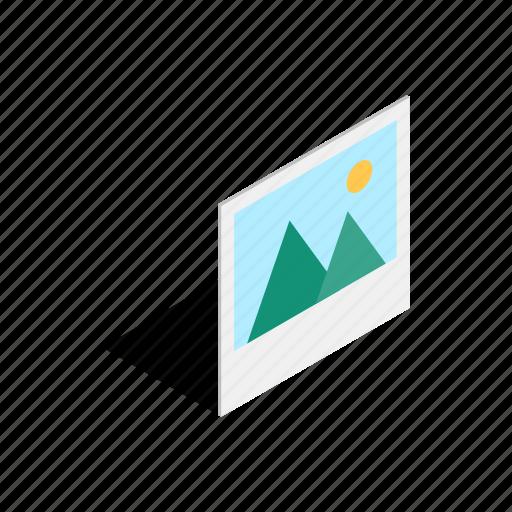 image, isometric, mountain, photo, photograph, picture, sun icon