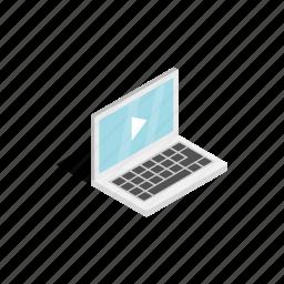 isometric, laptop, media, monitor, movie, multimedia, play icon