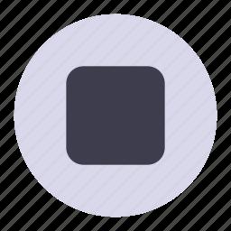break, media, player, square, stop icon