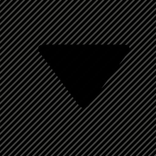 decrease, down, grey, media, move down, outline icon