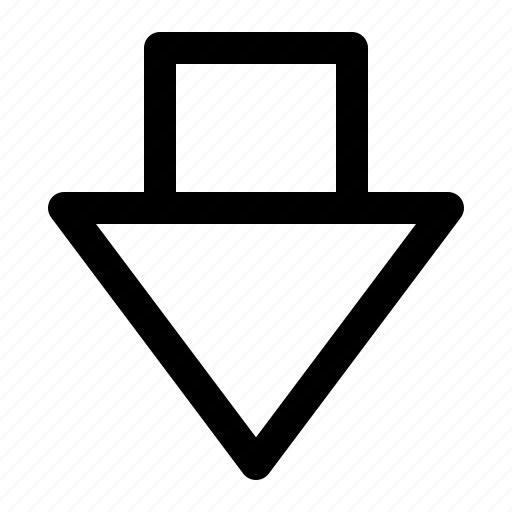 arrow, down, music, outline, play icon