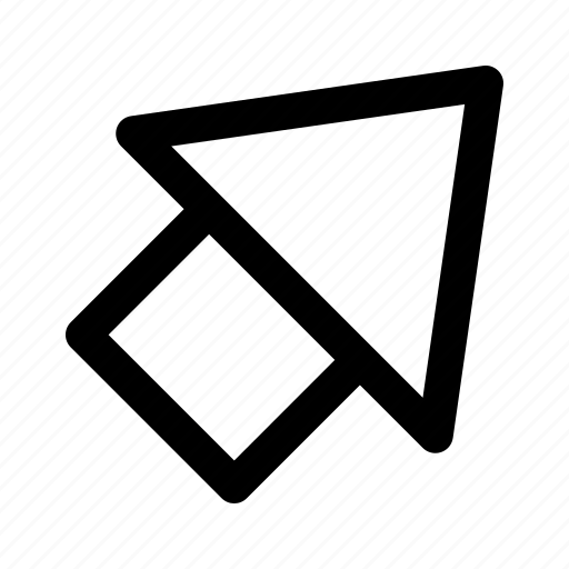 arrow, corner, outline, play, up icon