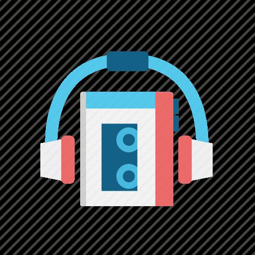 cassette, communication, consume, headphones, listen, media, radio, walkman icon