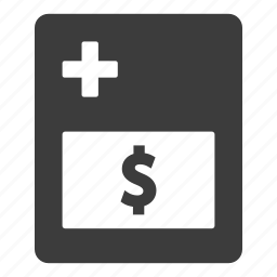 bill, hospital, insurance, medical, payment, receipt icon