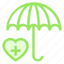 care, protection, secure, umbrella icon
