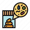 fecal, stool, analysis, parasite, sample, test icon