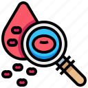 blood, check, count, health, magnified, medical, search icon