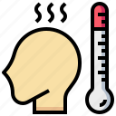 checkup, fever, head, health, medical, thermometer icon