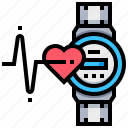 checkup, health, heart, medical, rate, watch icon
