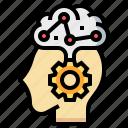 brain, checkup, gear, head, health, medical, psychiatry icon