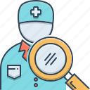 doctor, doctor search, magnifying, paramedic, professional, search