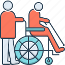 geriatrics, handicapped, physiotherapist, therapy, wheelchair