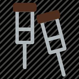 crutch, elbow crutch, equipment, hospital, stick, tool, walking stick icon