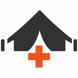 ambulance, army clinic, doctor tent, field medicine, healthcare, mobile hospital, training icon