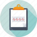 clipboard, ecg report, electrocardiogram, medical report, prescription icon