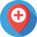 health clinic, hospital, hospital location, location pin, map pin icon