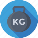 fitness, kettlebell ball, kg, weight, weightlifting icon