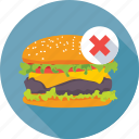 burger, prohibition, restricted, unhealthy food, weight loss icon
