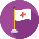 ensign, flag, hospital flag, hospital symbol, insignia icon