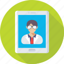 health app, mobile, online aid, online doctor, video call icon