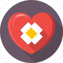 bandage, cardiology, heart, heart attack, heart disease icon
