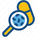 capsule, magnifier, magnifying lens, medicine, medicine testing icon