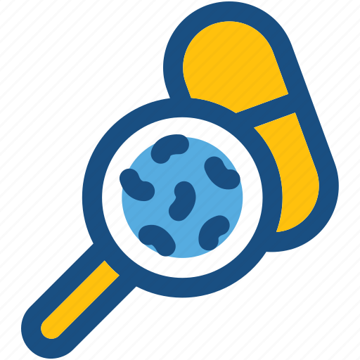 capsule, magnifier, magnifying lens, medicine, medicine testing icon