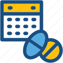 calendar, medicine schedule, medicine time, schedule, treatment duration icon