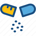 capsule, drugs, medical pills, medicines, open capsule icon