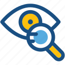 eye, eye test, eyesight, magnifier, see, vision icon