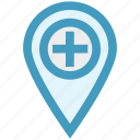 hospital map pin, location marker, location pin, location pointer, locator, map marker