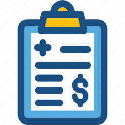 clinic bill, clipboard, doctor fee, hospital bill, hospital expenses icon
