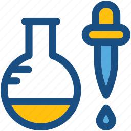 dropper, flask, lab experiment, lab research, lab test icon