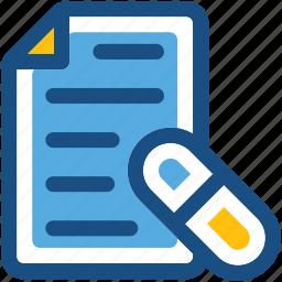 medical, medical report, medication, patient report, prescription icon
