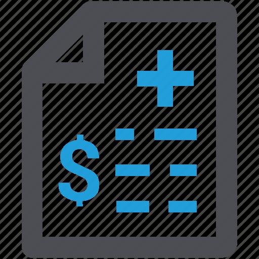bill, fee, health insurance, healthcare, medical bill, medical receipt icon