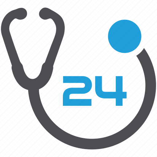 24/7, doctor consultation, medical care, medical help, medical service, stethoscope icon